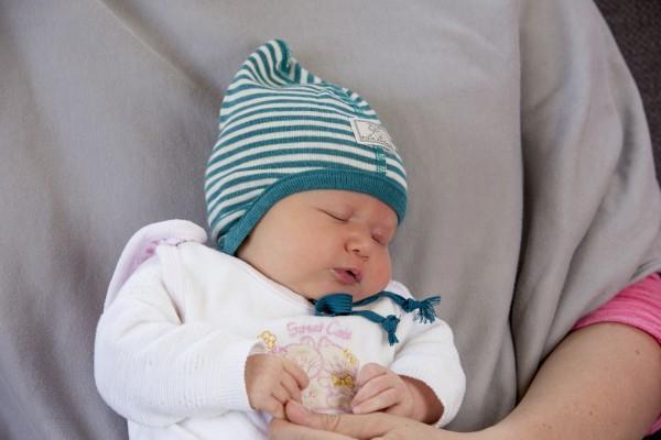 Pickapooh Übergangsmütze für Babys Zoe türkis/natur