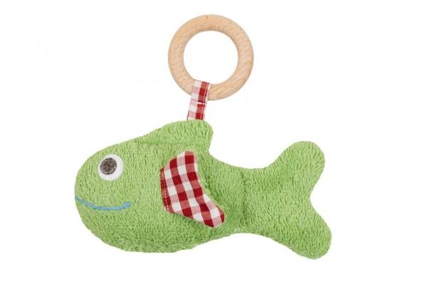 Efie Greifling Fisch mit Holzring/Rassel grün