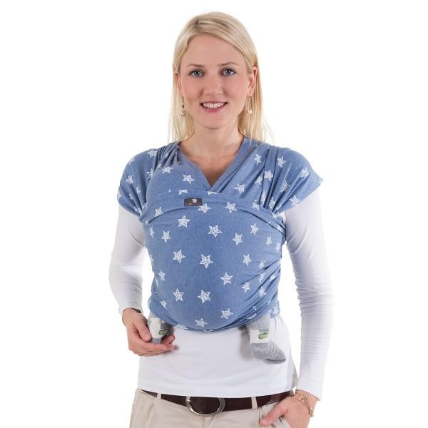 Hoppediz elastisches Tragetuch in kbA-Qualität Blau mit weißem Stern 4,6m lang, 0,50m breit