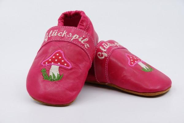 Anna und Paul Krabbelschuhe Glückspilz pink Gummisohlen