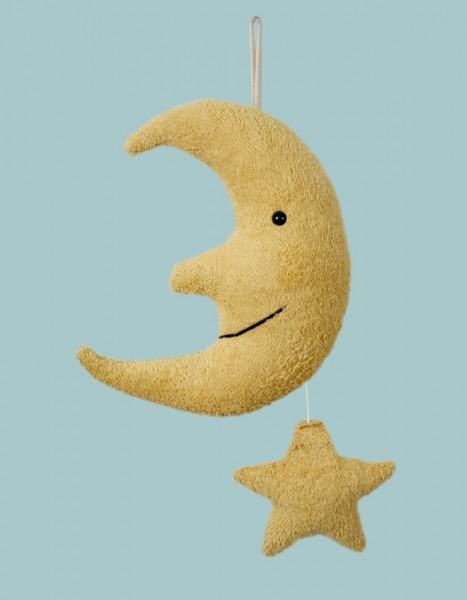 Efie Spieluhr Mond mit Sternchen, gelb Melodie: Mozarts Wiegenlied