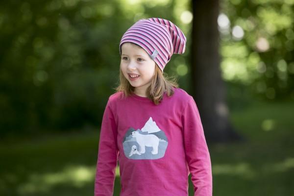 Pickapooh Kindermütze Rap pink - grau gestreift
