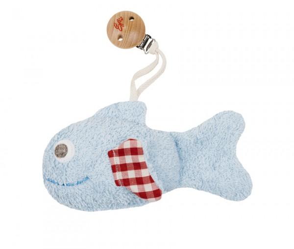 Efie Greifling Fisch mit Clip/Rassel blau