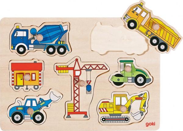 goki Steckpuzzle Baufahrzeuge