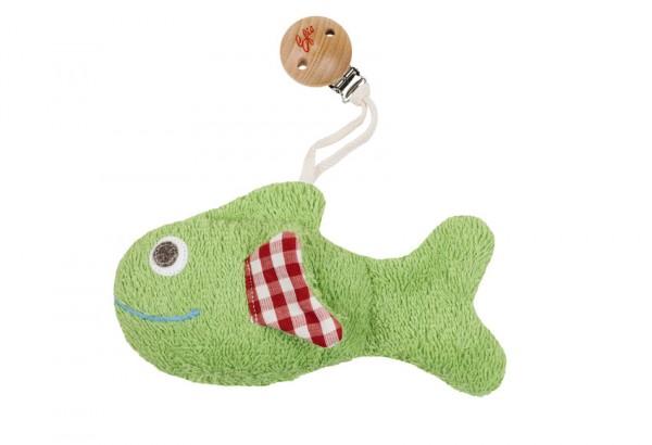 Efie Greifling Fisch mit Clip/Rassel grün