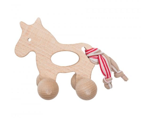 Efie Holzspielzeug Pony mit Rollen, grün/blau