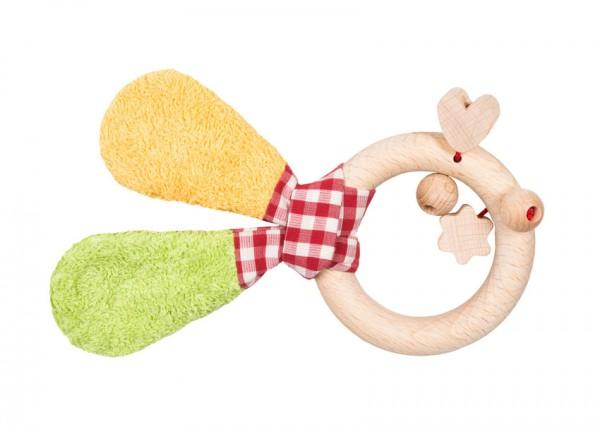 Efie Holzspielzeug Greifling, grün/gelb, Holzring