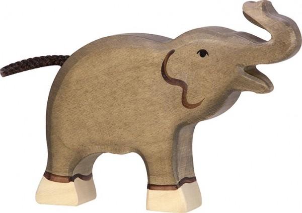 HOLZTIGER Elefant, klein, Rüssel hoch
