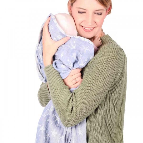 Schmusewolke Babydecke Musselin Ankerliebe 120cm x 120cm
