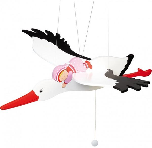 goki Schwingtier Storch mit Baby (rosa)