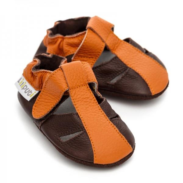 Liliputi Krabbelschuhe Sandale Mars orange-braun